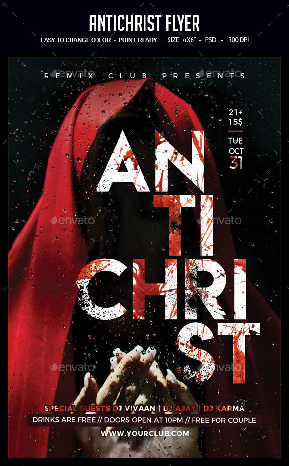 Antichrist Flyer - Clubs & Parties Events