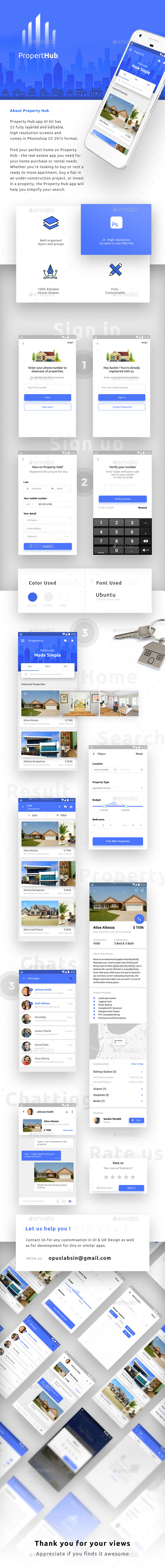 GraphicRiver Real Estate App UI for Android & iOS Property Hub 20854770
