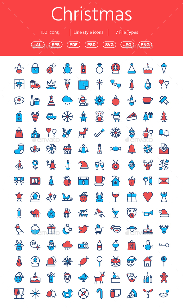 GraphicRiver Christmas Flat color icons 20854876