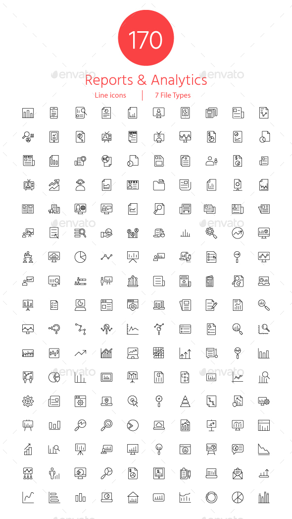 GraphicRiver Reports and Analytics line icons 20854896