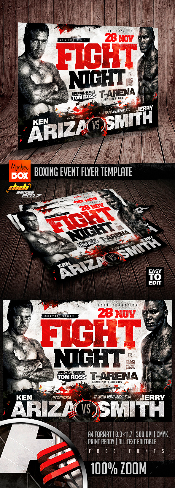GraphicRiver Boxing Event Flyer Template 20855259