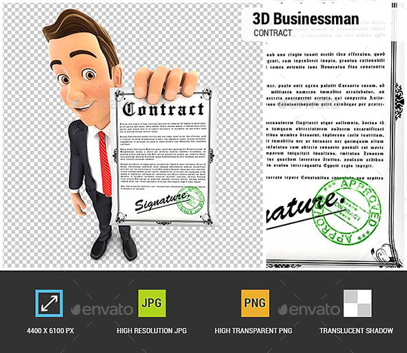 GraphicRiver 3D Businessman Holding Signed Contract 20855330