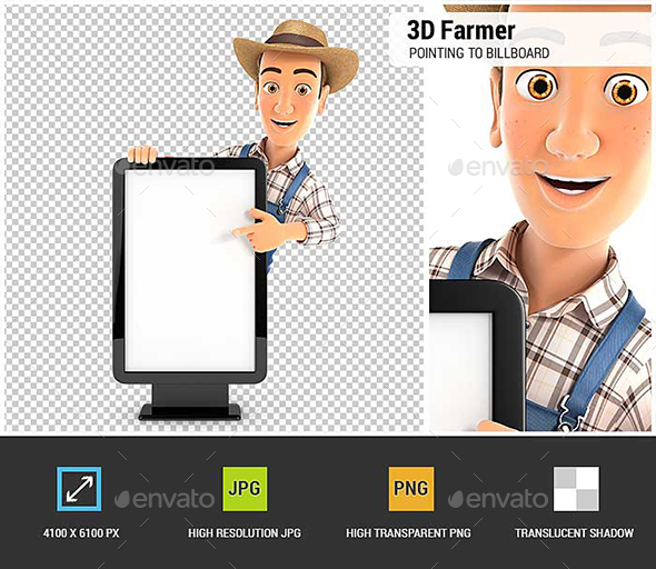 3D Farmer Pointing to Blank Billboard - Characters 3D Renders