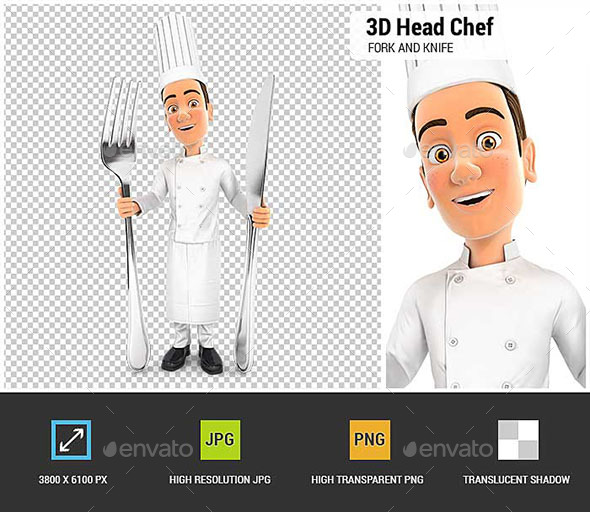 GraphicRiver 3D Head Chef with Fork and Knife 20855354