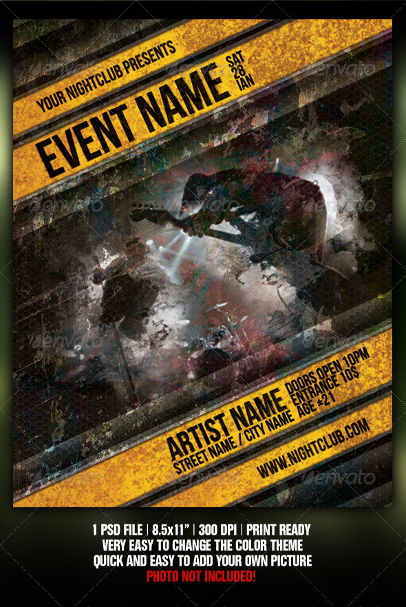 Grunge Night Club Party/Concert Flyer/Poster V2 - Clubs & Parties Events