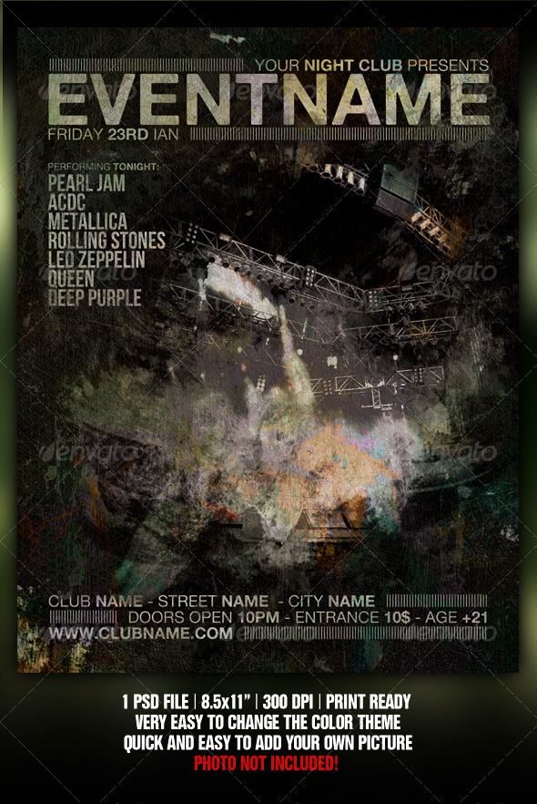 Grunge Night Club PartyConcert FlyerPoster V By Fadeink