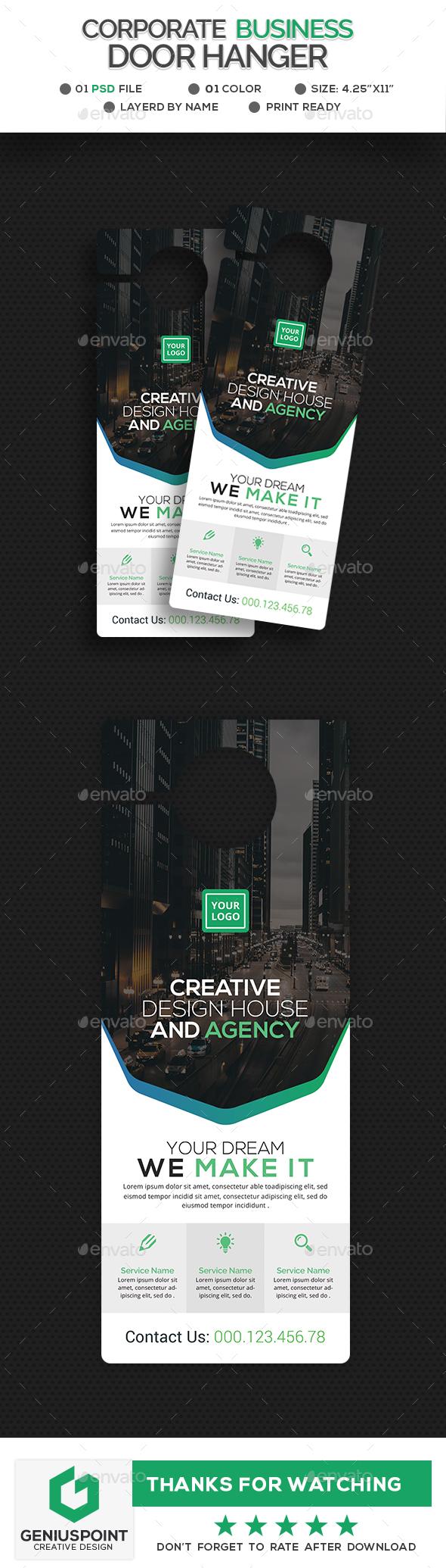 Corporate Door Hanger - Miscellaneous Print Templates