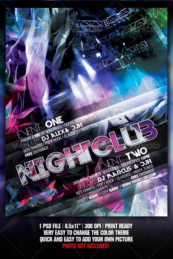 Abstract Night Club Party/Concert Flyer/Poster - Clubs & Parties Events