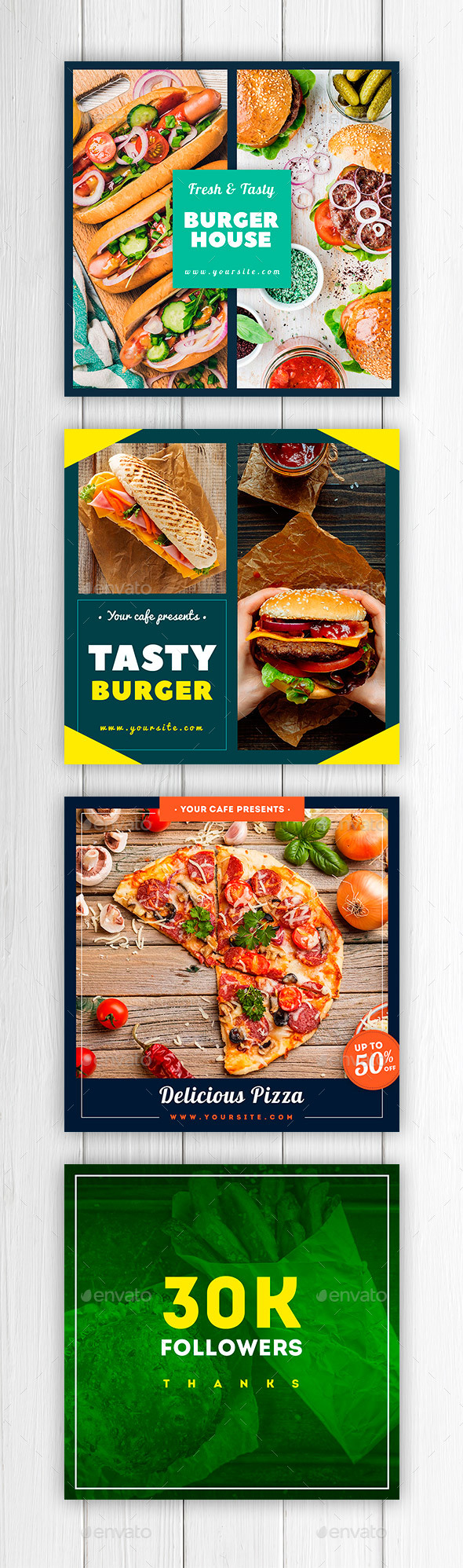 Restaurant Instagram Banners - Social Media Web Elements
