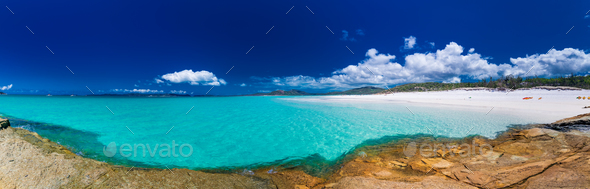 Panorama of Whitehaven Beach with white sand in the Whitsunday I - Stock Photo - Images