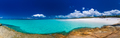 Panorama of Whitehaven Beach with white sand in the Whitsunday I
