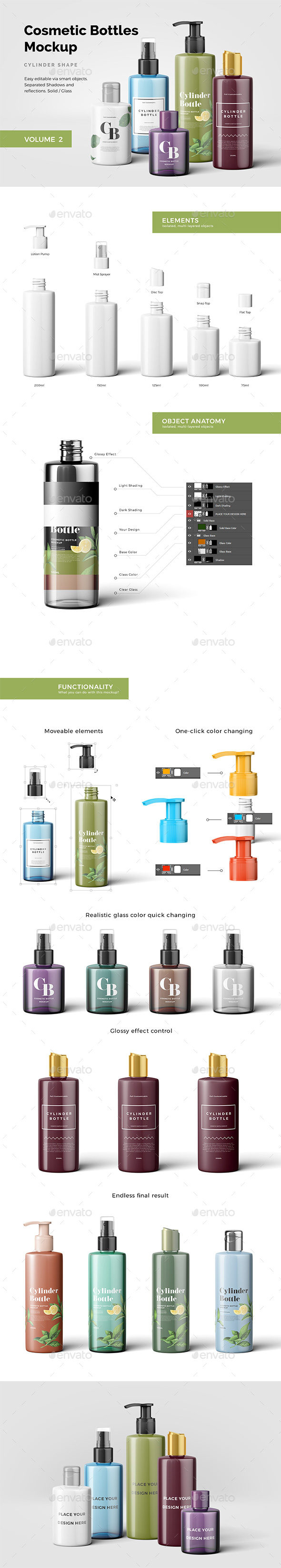 GraphicRiver Cosmetic Bottles Mockup Vol.2 20855870