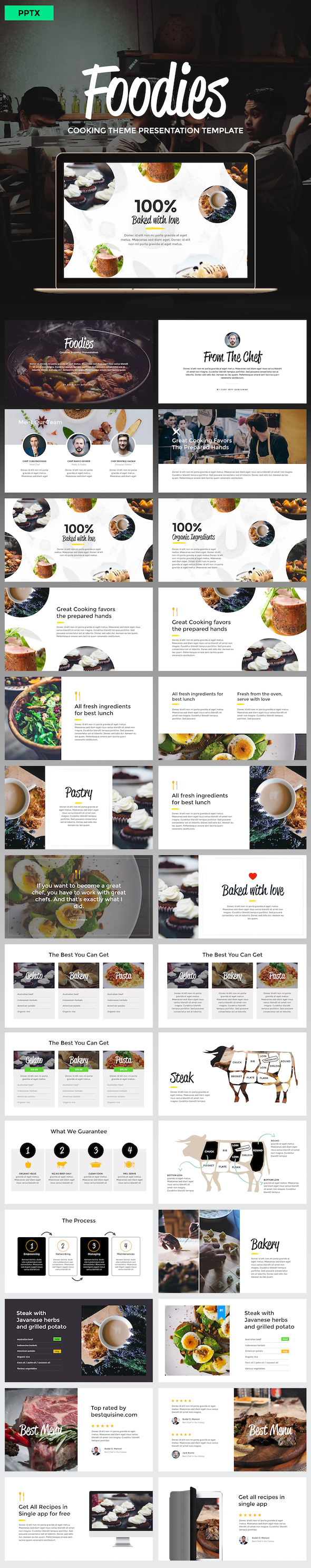 foodies - culinary theme powerpoint templateslidehack, Modern powerpoint