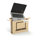 Laptop in carton cardboard box. E-commerce, internet online shop