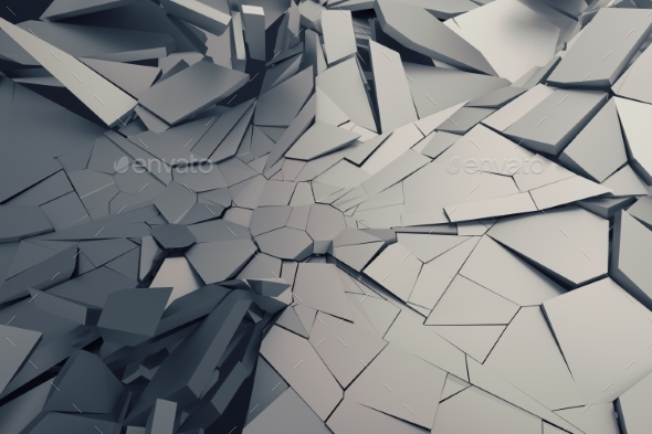 Abstract 3D Rendering of Cracked Surface. - 3D Renders Graphics