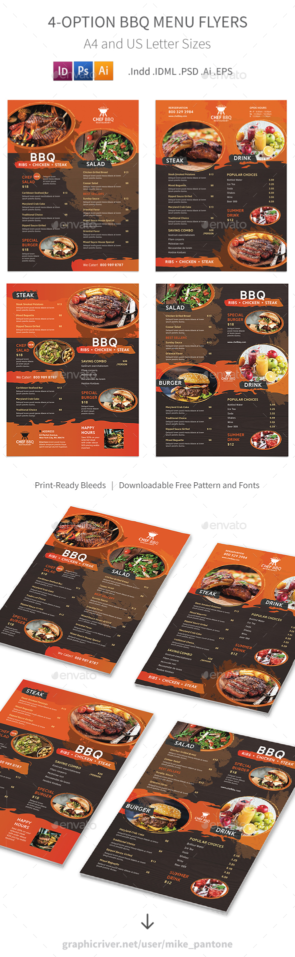 BBQ Restaurant Menu Flyers – 4 Options - Food Menus Print Templates