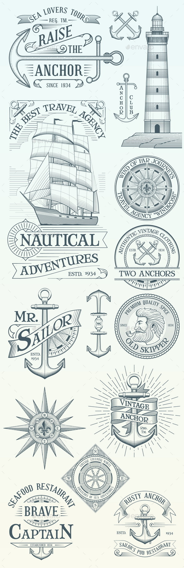 GraphicRiver Set of Vintage Nautical Labels and Badges 20856714
