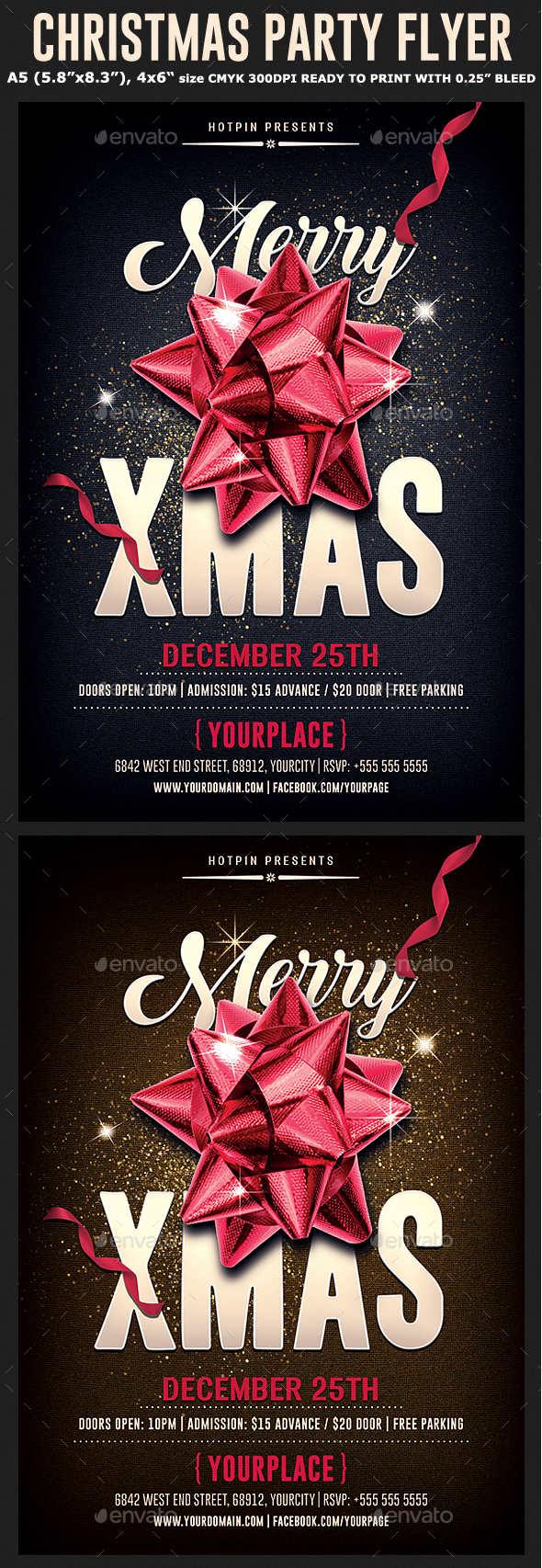 Christmas Psd Party Flyer Template - Holidays Events