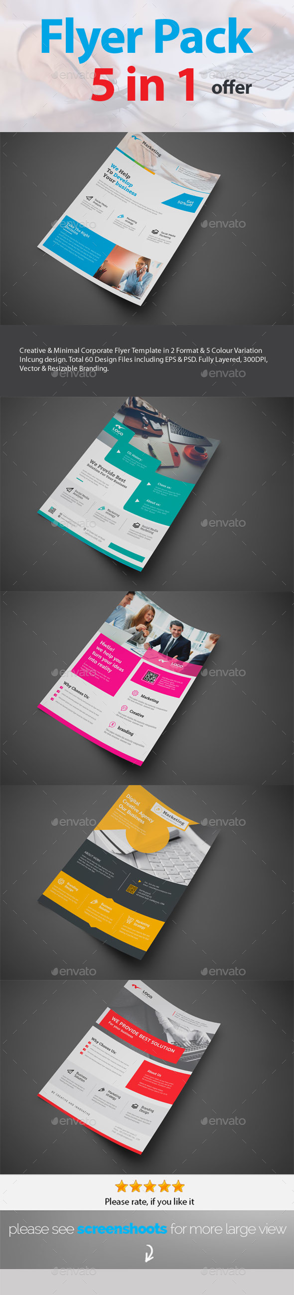 GraphicRiver Flyers 5 in 1 Pack Template 20856880