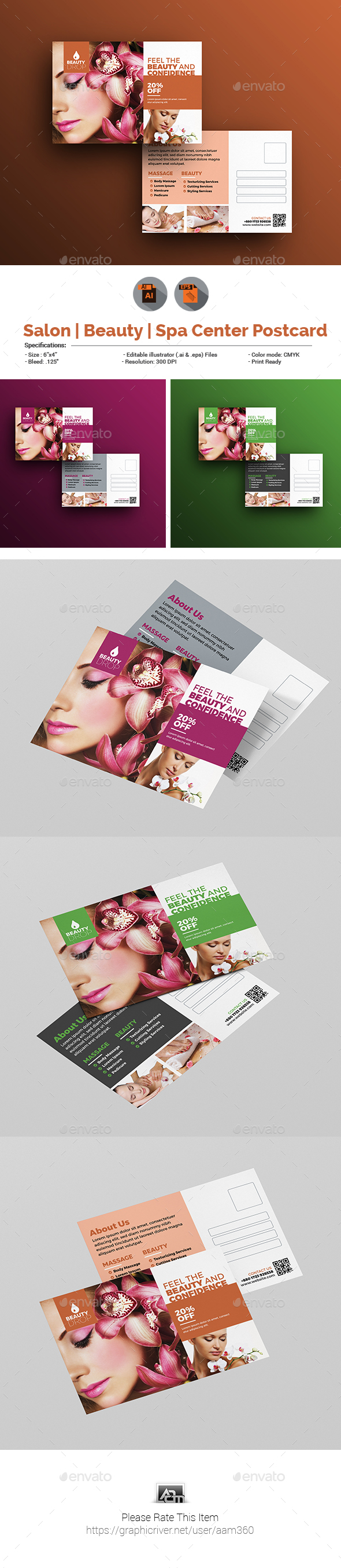 GraphicRiver Salon Beauty Spa Center Postcard Template 20856893