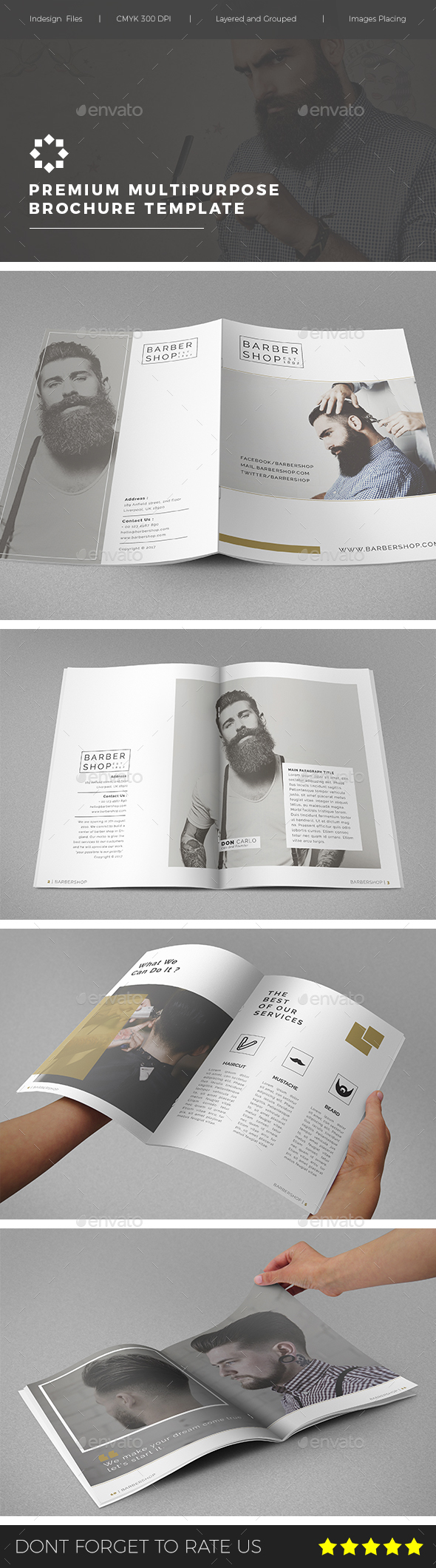 Multipurpose Barbershop Brochure - Brochures Print Templates