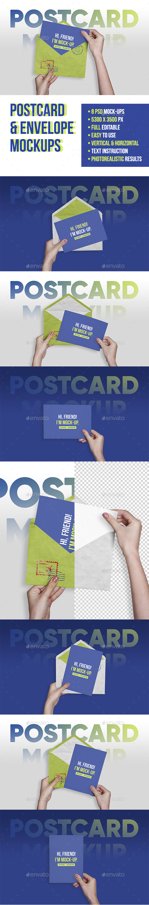 GraphicRiver Postcard Greeting Invitation with Envelope Mockups 20856974