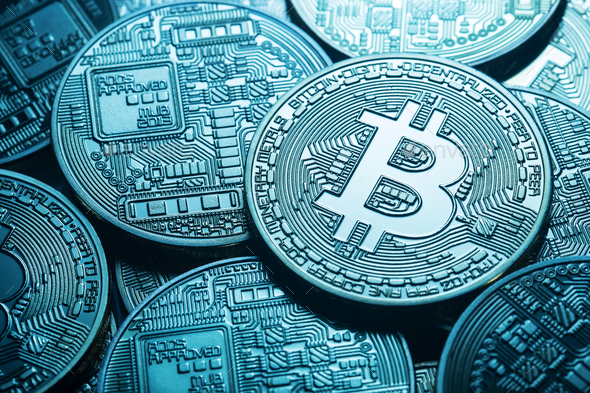 Business background from virtual bitcoin currency - Stock Photo - Images