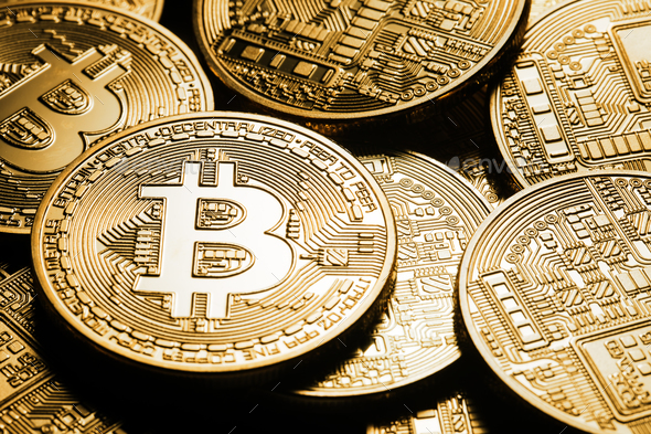 Business background from the world currency bitcoin - Stock Photo - Images
