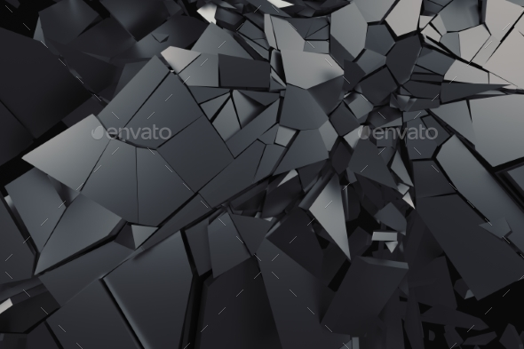 Abstract 3D Rendering of Cracked Surface. - Abstract 3D Renders