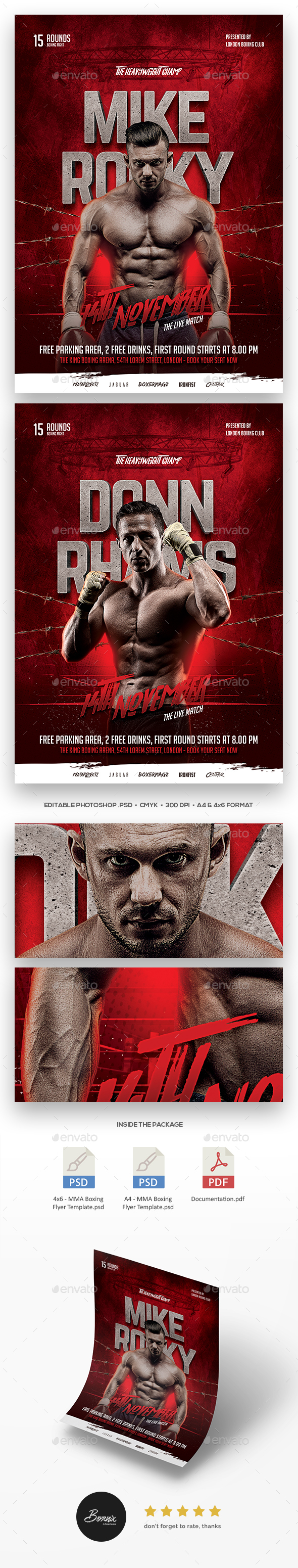 MMA Boxing Flyer Template - Sports Events