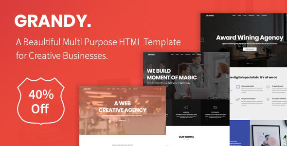 ThemeForest Grandy Creative Multi Purpose Big HTML5 Template 20768083