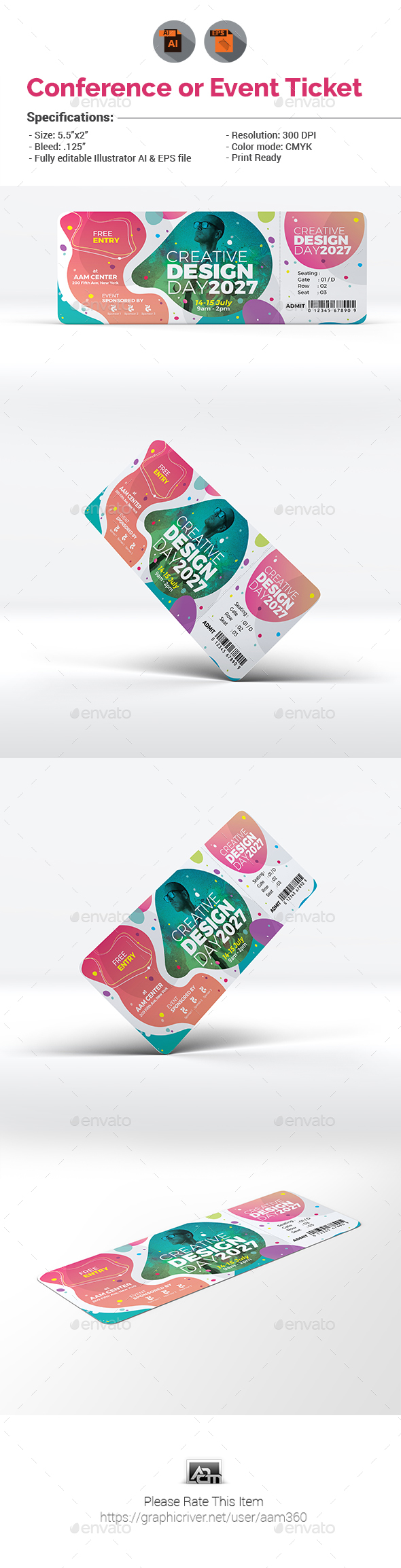 Conference / Event Ticket Template - Cards & Invites Print Templates