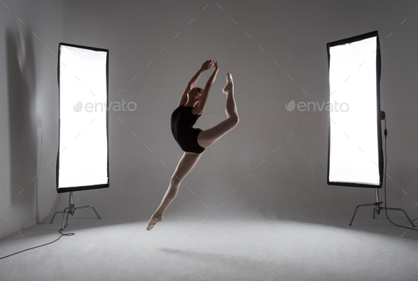 Backstage shooting a graceful ballerina in the studio - Stock Photo - Images