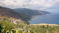 Panoramic view of Sicilian coast with Letojanni town