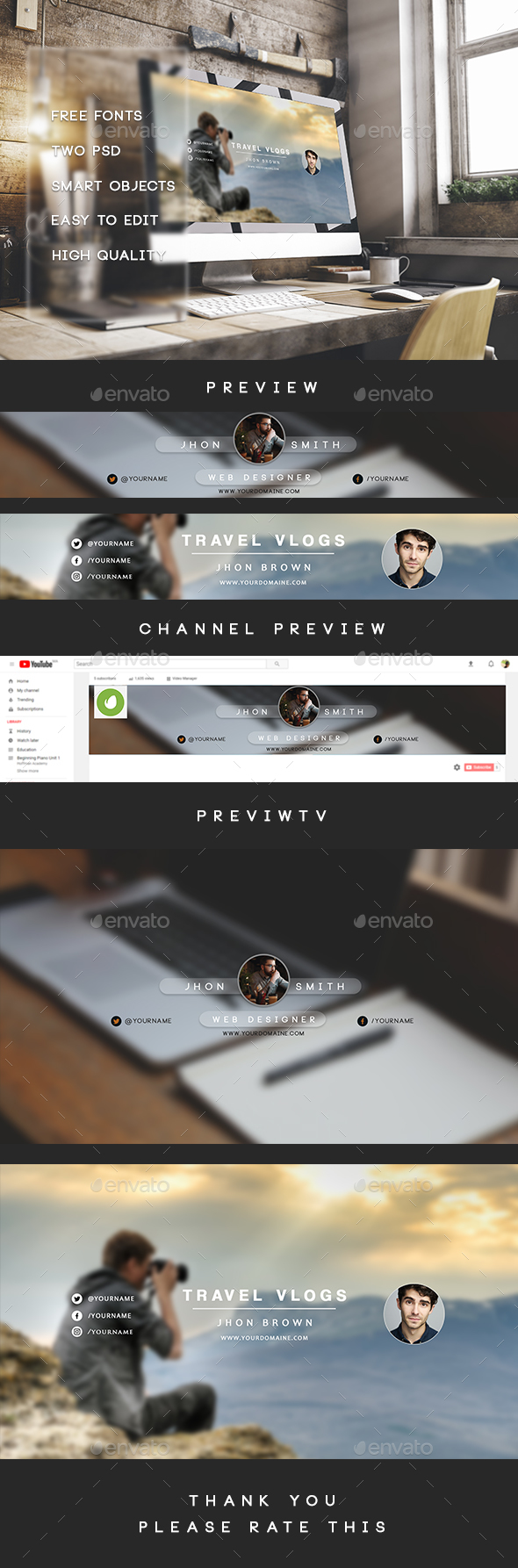Clean - Simple Youtube Banner - Social Media Web Elements