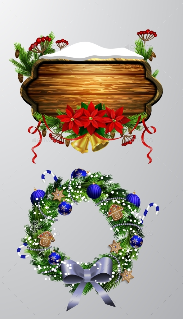 GraphicRiver Vector Wooden Christmas Board 20858007