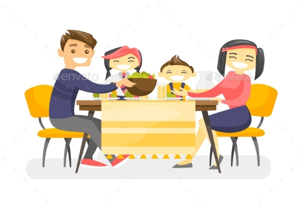 Happy Multiethnic Family Dining at the Table - People Characters
