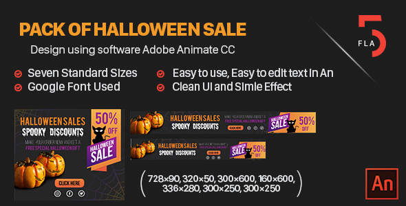 Pack of Halloween Sale - HTML -  Adobe Animate CC Best Scripts