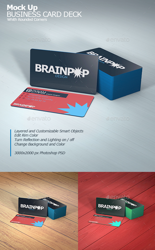 GraphicRiver Business Card Mockup With Rounded Corners 20858417