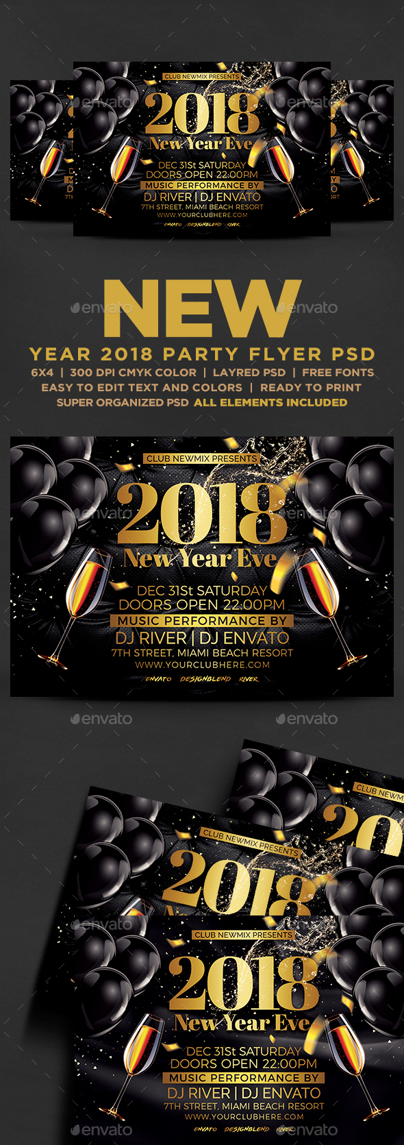 2018 New Year Eve Flyer - Events Flyers