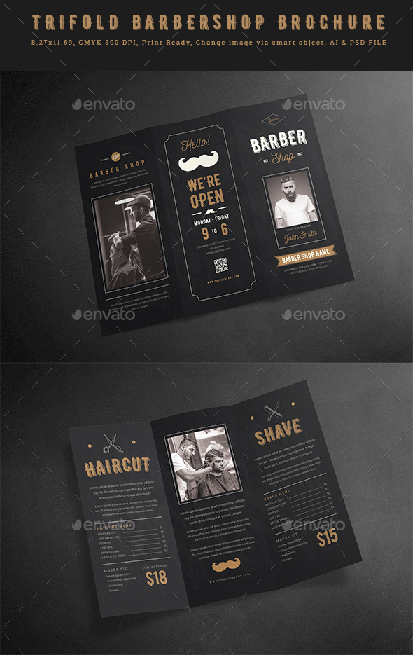 GraphicRiver Blackboard Trifold Barbershop Brochure 20858894