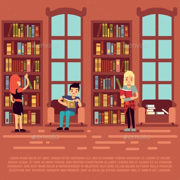 Library Interior Concept - Teenagers and Students - Miscellaneous Vectors