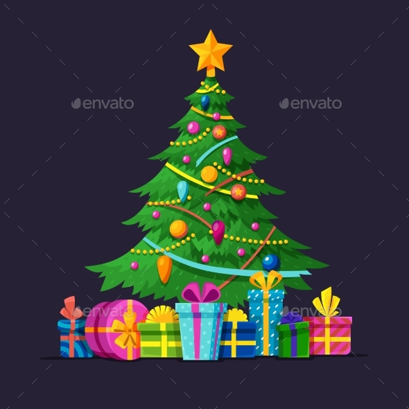 Christmas Tree with Bulbs, Gifts and Xmas Balls - Objects Vectors