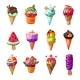 Cartoon Ice Cream And Sundae Set