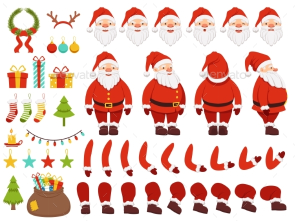 Mascot Creation Kit of Christmas Character. Santa - Objects Vectors