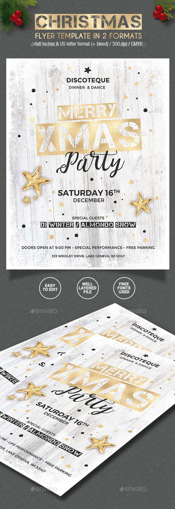 Gold / White Christmas Party Flyer - 2 formats - Holidays Events