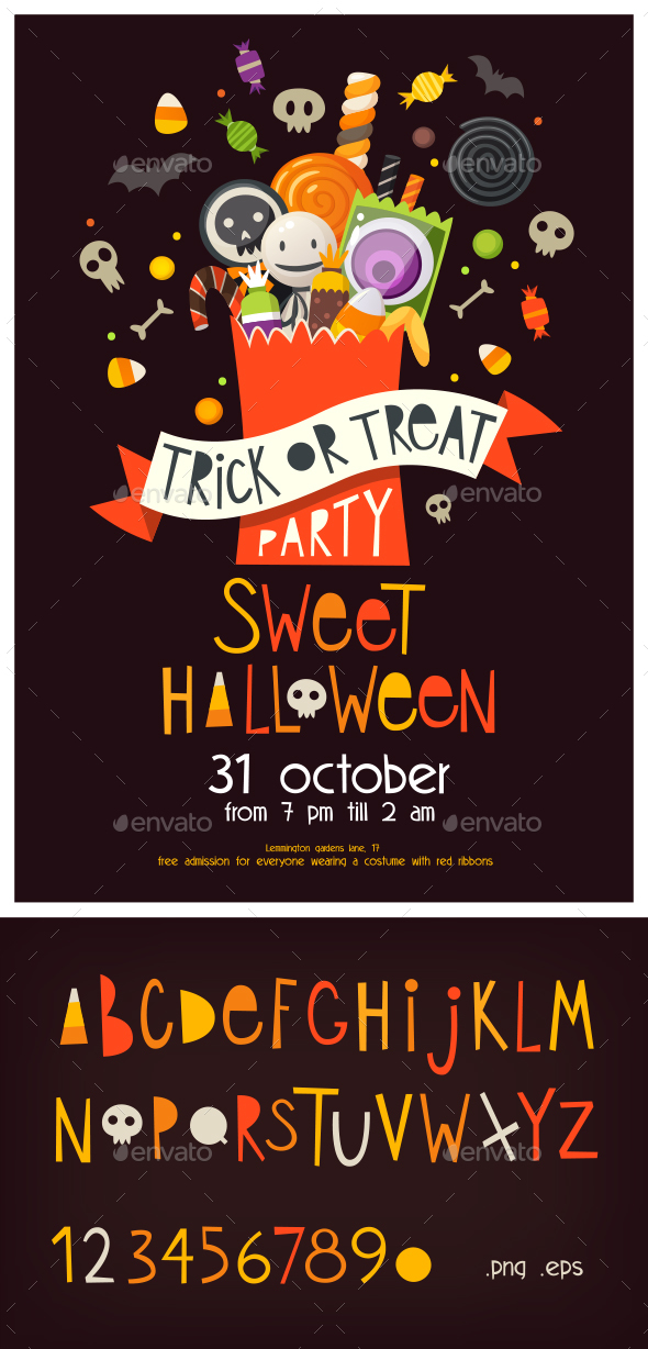 Halloween Poster with Sweets - Halloween Seasons/Holidays