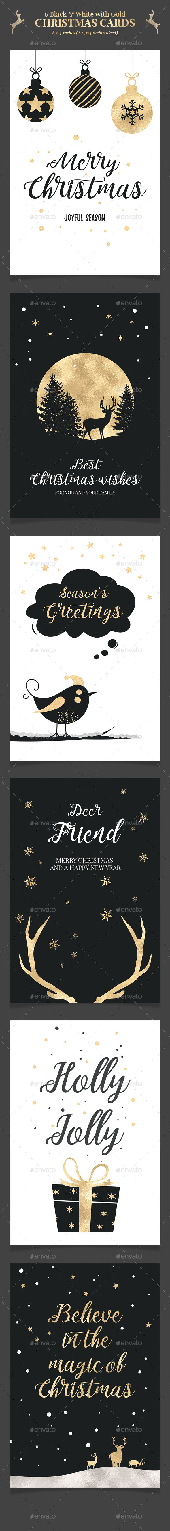 6 Black & White Christmas Cards / Backgrounds PSD - Christmas Greeting Cards