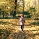 Child Is Walking Along the Autumn Path - VideoHive Item for Sale