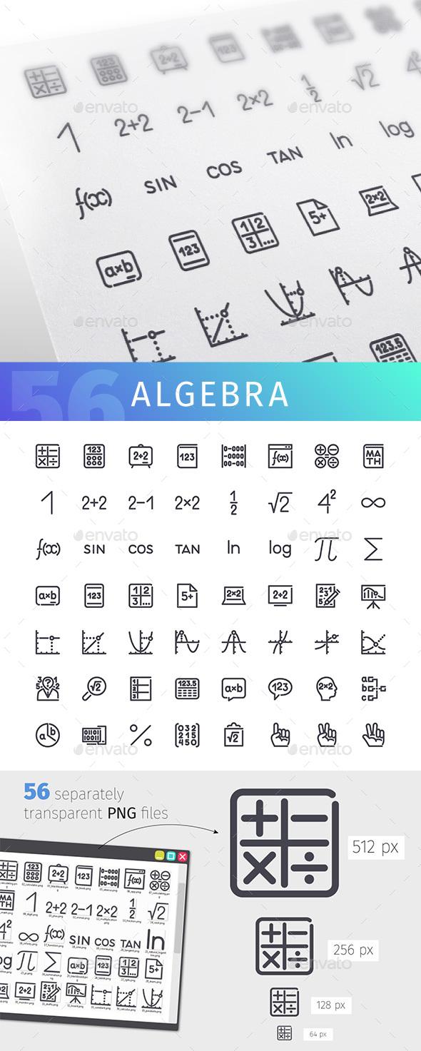 Algebra Line Icons Set - Miscellaneous Icons